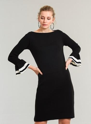 People By Fabrika Kolu Volan Detaylı Elbise Siyah